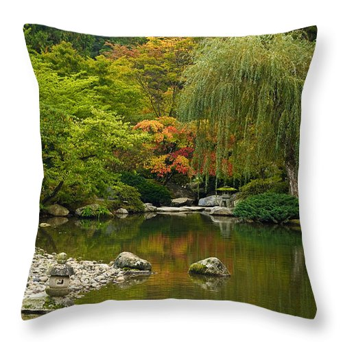 Japanese Gardens Throw Pillow featuring the photograph Japanese Gardens by Mike Reid