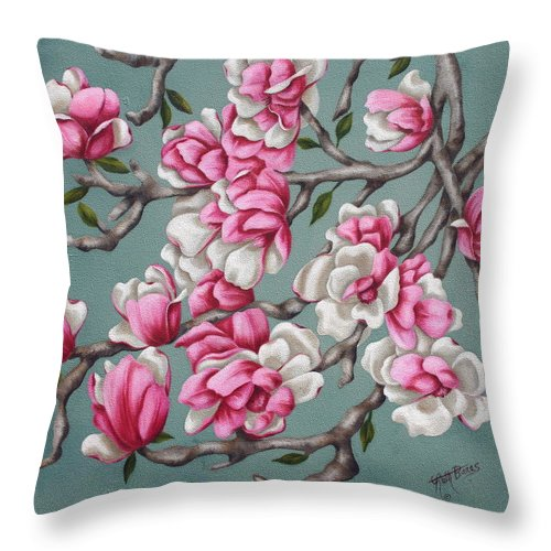 Oil Throw Pillow featuring the painting Japenese Magnolia by Ruth Bares