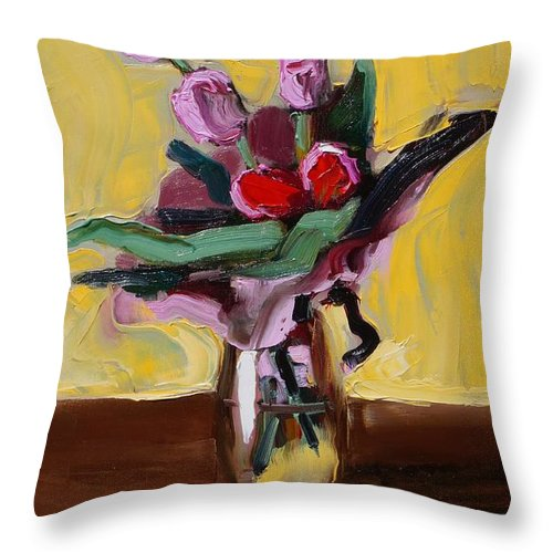 Tulip Throw Pillow featuring the painting Jar With Tulips by Bela Csaszar