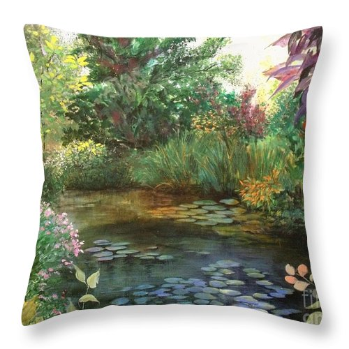 Canvas Print Landscape Throw Pillow featuring the painting Jardin Giverny by Madeleine Holzberg