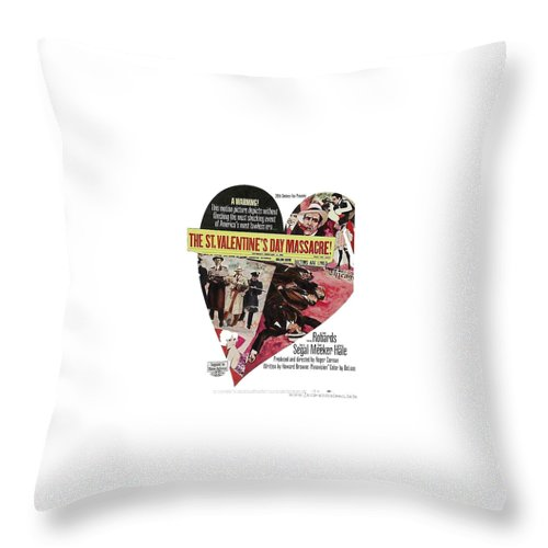 Jason Robards As Al Capone Theatrical Poster The St. Valentines Day Massacre 1967 Throw Pillow featuring the photograph Jason Robards As Al Capone Theatrical Poster The St. Valentines Day Massacre 1967 by David Lee Guss