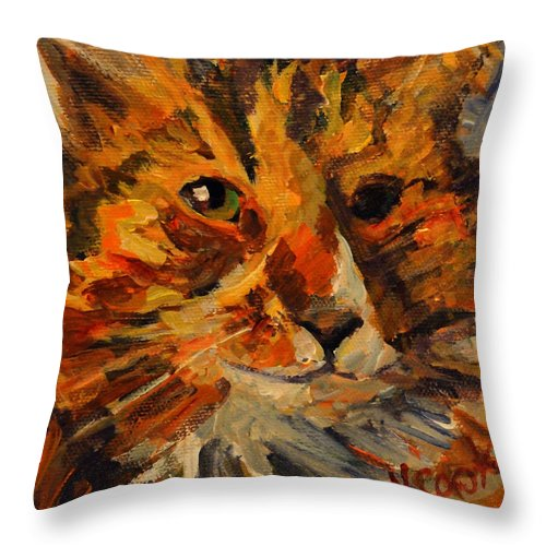 Cat Throw Pillow featuring the painting Jasper by Nanci Cook