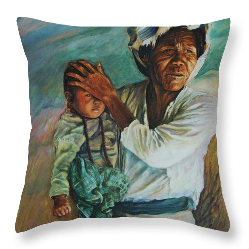 Woman Throw Pillow featuring the painting Javanese Woman by Rick Nederlof