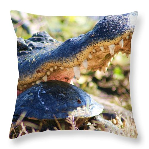 Alligator Throw Pillow featuring the photograph Jaws by Lynn Chatman