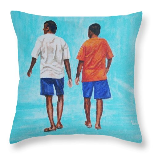 Throw Pillow featuring the painting Jay Walkers by Usha Shantharam