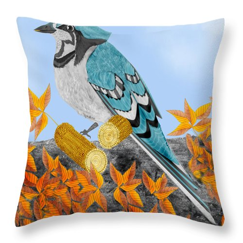 Jay Bird Throw Pillow featuring the painting Jay With Corn And Leaves by Anne Norskog