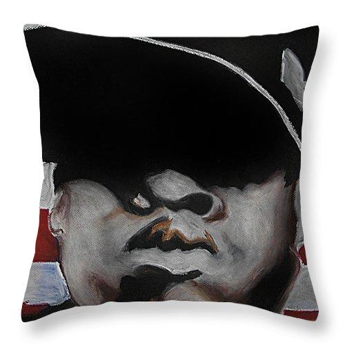 Jay Z Throw Pillow featuring the pastel Jay Z by Ebony Thompson
