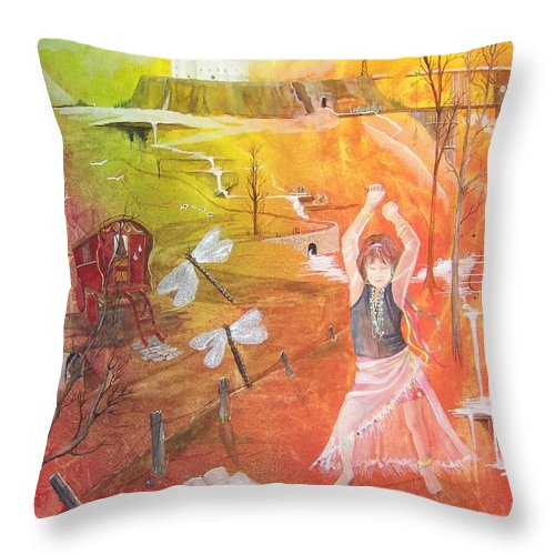 Gypsy Throw Pillow featuring the painting Jayzen - The Little Gypsy Dancer by Jackie Mueller-Jones