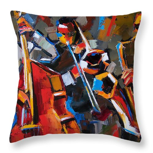 Jazz Throw Pillow featuring the painting Jazz Angles by Debra Hurd