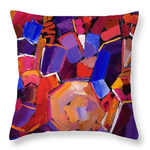 Jazz Throw Pillow featuring the painting Jazz Angles Two by Debra Hurd