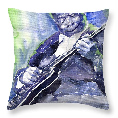 Jazz Throw Pillow featuring the painting Jazz B B King 02 by Yuriy Shevchuk