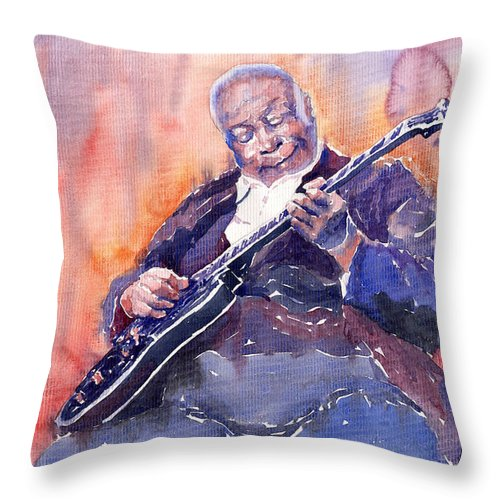 Jazz Throw Pillow featuring the painting Jazz B.b. King 03 by Yuriy Shevchuk