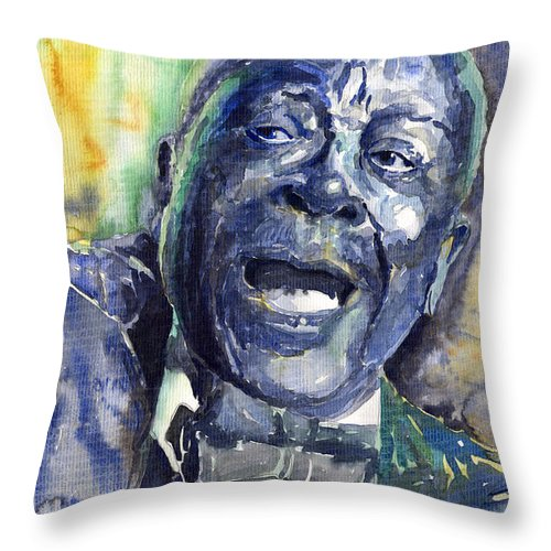 Jazz Throw Pillow featuring the painting Jazz B.b.king 04 Blue by Yuriy Shevchuk