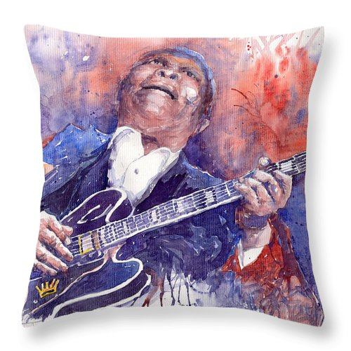 Jazz Throw Pillow featuring the painting Jazz B B King 05 Red by Yuriy Shevchuk
