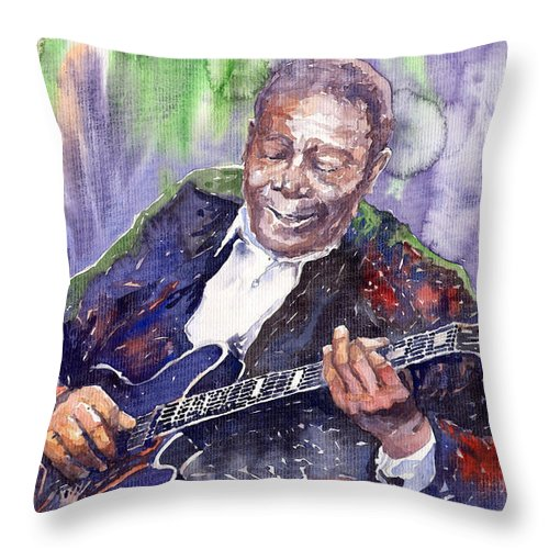 Jazz Throw Pillow featuring the painting Jazz B B King 06 by Yuriy Shevchuk