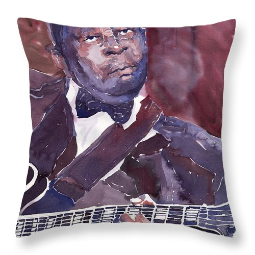 Jazz Bbking Guitarist Blues Portret Figurative Music Throw Pillow featuring the painting Jazz B B King by Yuriy Shevchuk