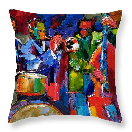 Jazz Throw Pillow featuring the painting Jazz Beat by Debra Hurd
