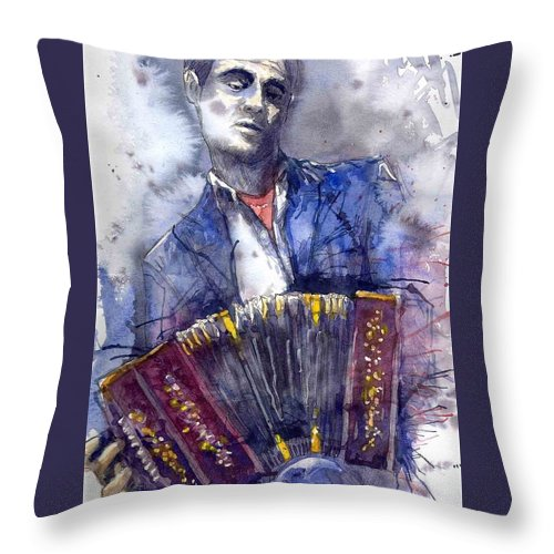 Jazz Throw Pillow featuring the painting Jazz Concertina player by Yuriy Shevchuk