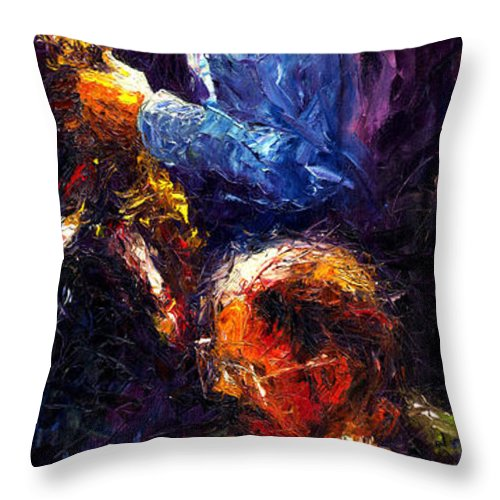 Jazz Throw Pillow featuring the painting Jazz Duet by Yuriy Shevchuk