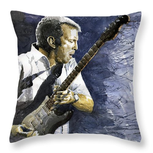 Eric Clapton Throw Pillow featuring the painting Jazz Eric Clapton 1 by Yuriy Shevchuk