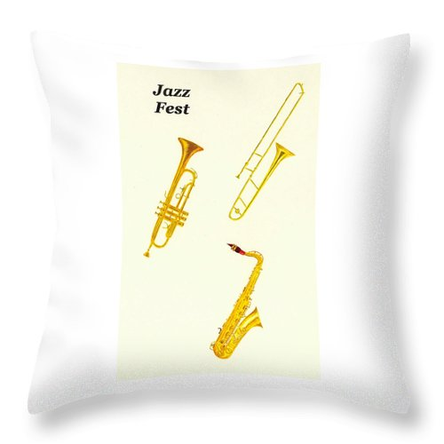 Jazz Throw Pillow featuring the painting Jazz Fest by Michael Vigliotti