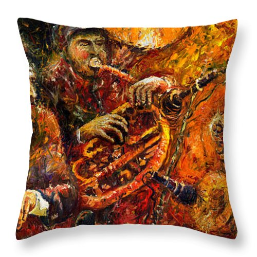 Jazz Throw Pillow featuring the painting Jazz Gold Jazz by Yuriy Shevchuk