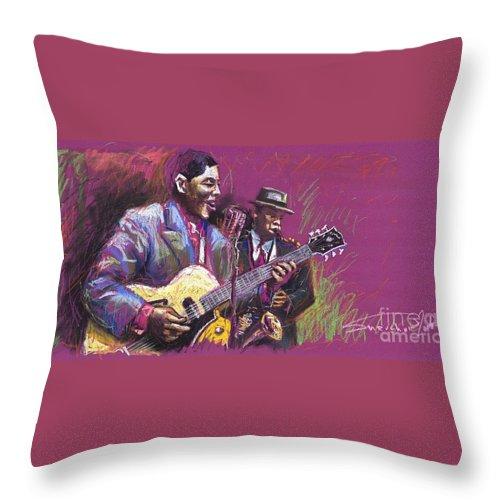 Jazz Throw Pillow featuring the painting Jazz Guitarist Duet by Yuriy Shevchuk