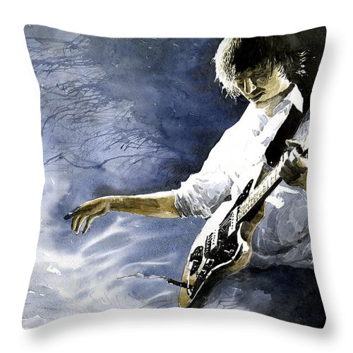 Figurativ Throw Pillow featuring the painting Jazz Guitarist Last Accord by Yuriy Shevchuk
