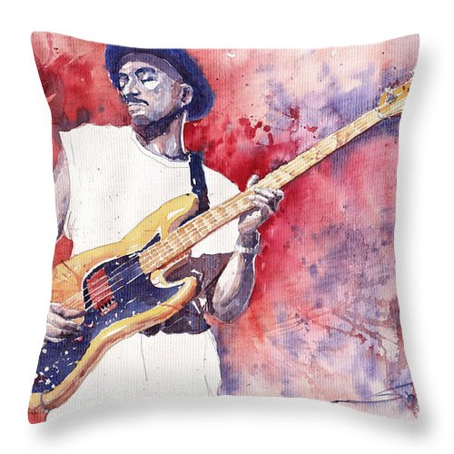 Jazz Throw Pillow featuring the painting Jazz Guitarist Marcus Miller Red by Yuriy Shevchuk