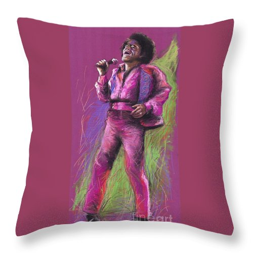 Jazz Throw Pillow featuring the painting Jazz James Brown by Yuriy Shevchuk