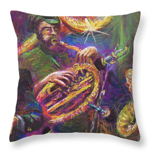 Jazz Throw Pillow featuring the painting Jazz Jazzband Trio by Yuriy Shevchuk