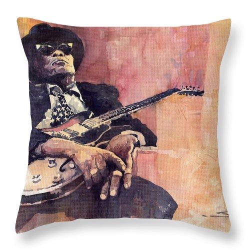 Watercolour Throw Pillow featuring the painting Jazz John Lee Hooker by Yuriy Shevchuk