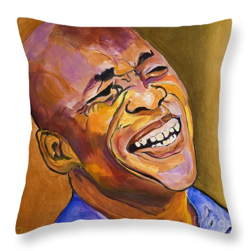 Portraits Throw Pillow featuring the painting Jazz Man by Pat Saunders-White