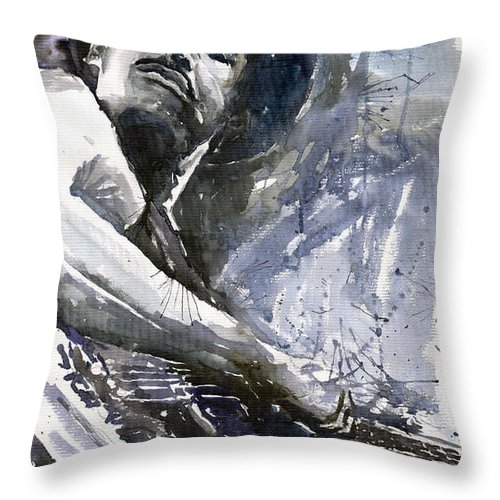 Jazz Throw Pillow featuring the painting Jazz Marcus Miller 01 by Yuriy Shevchuk