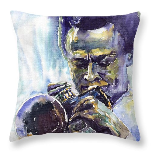 Jazz Miles Davis Music Musiciant Trumpeter Portret Throw Pillow featuring the painting Jazz Miles Davis 10 by Yuriy Shevchuk