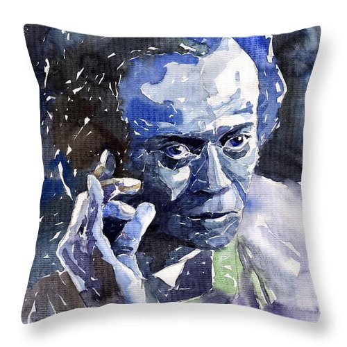 Jazz Throw Pillow featuring the painting Jazz Miles Davis 11 Blue by Yuriy Shevchuk