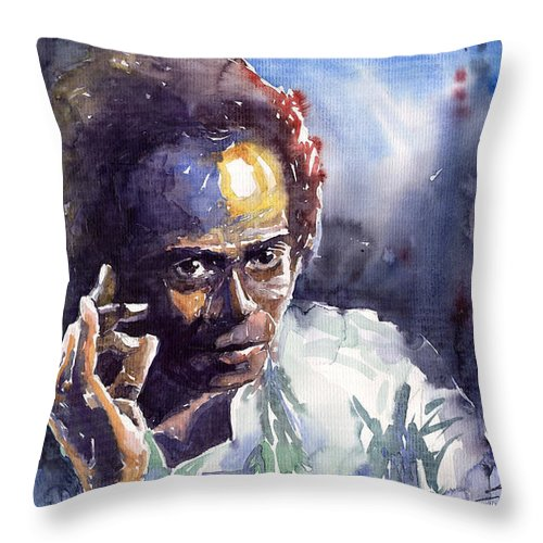 Jazz Watercolor Watercolour Miles Davis Portret Throw Pillow featuring the painting Jazz Miles Davis 11 by Yuriy Shevchuk