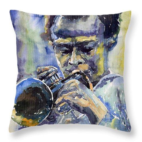 Jazz Throw Pillow featuring the painting Jazz Miles Davis 12 by Yuriy Shevchuk