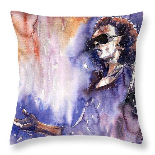 Jazz Throw Pillow featuring the painting Jazz Miles Davis 14 by Yuriy Shevchuk
