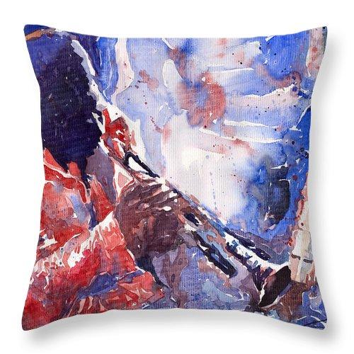 Jazz Throw Pillow featuring the painting Jazz Miles Davis 15 by Yuriy Shevchuk