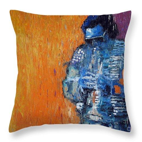 Jazz Throw Pillow featuring the painting Jazz Miles Davis 2 by Yuriy Shevchuk