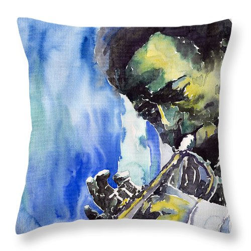 Throw Pillow featuring the painting Jazz Miles Davis 5 by Yuriy Shevchuk