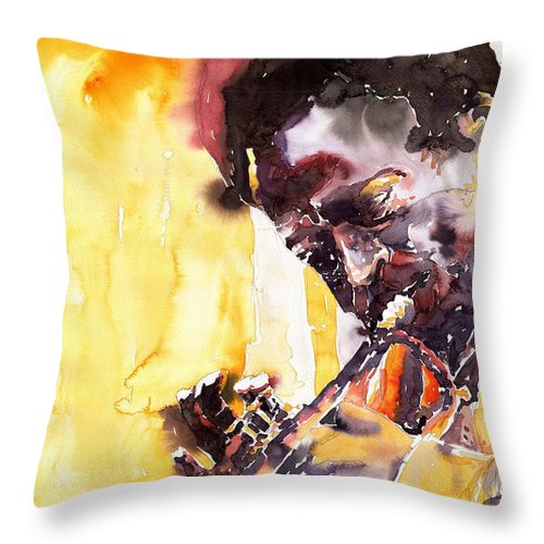Jazz Music Watercolor Watercolour Miles Davis Trumpeter Portret Throw Pillow featuring the painting Jazz Miles Davis 6 by Yuriy Shevchuk