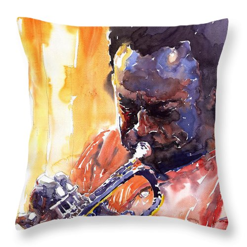 Jazz Miles Davis Music Watercolor Watercolour Figurativ Portret Trumpeter Throw Pillow featuring the painting Jazz Miles Davis 8 by Yuriy Shevchuk