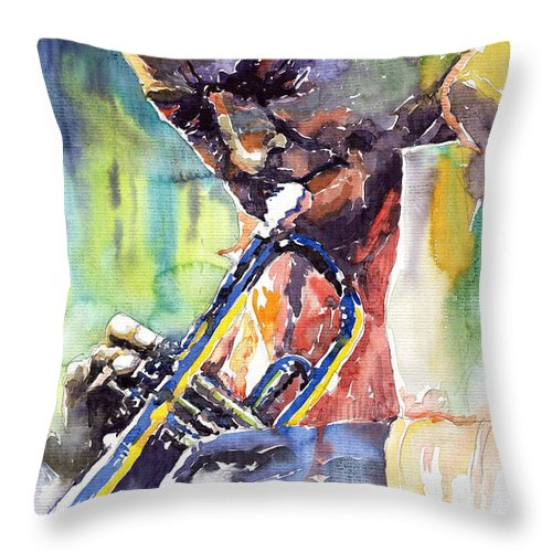 Jazz Miles Davis Music Musiciant Trumpeter Portret Throw Pillow featuring the painting Jazz Miles Davis 9 Blue by Yuriy Shevchuk