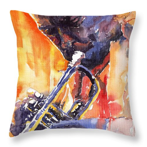 Jazz Throw Pillow featuring the painting Jazz Miles Davis 9 Red by Yuriy Shevchuk