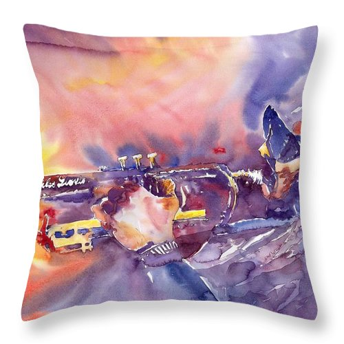 Jazz Watercolor Miles Davis Music Musician Trumpeter Figurative Watercolour Throw Pillow featuring the painting Jazz Miles Davis Electric 1 by Yuriy Shevchuk
