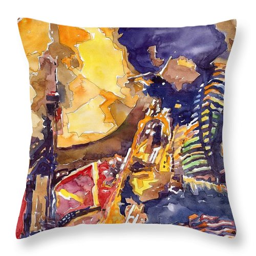 Miles Davis Figurative Jazz Miles Music Musiciant Trumpeter Watercolor Watercolour Throw Pillow featuring the painting Jazz Miles Davis Electric 2 by Yuriy Shevchuk