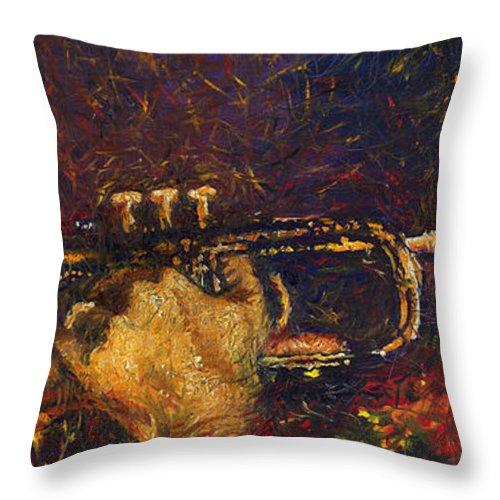 Jazz Throw Pillow featuring the painting Jazz Miles Davis by Yuriy Shevchuk