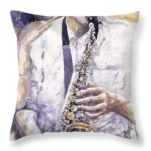 Jazz Throw Pillow featuring the painting Jazz Muza Saxophon by Yuriy Shevchuk